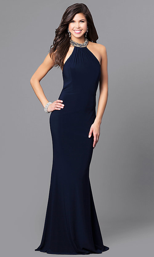 Image of beaded-collar long formal prom dress with cut outs. Style: AL-8008 Front Image