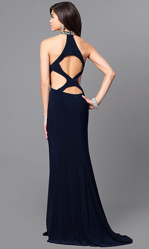 Image of beaded-collar long formal prom dress with cut outs. Style: AL-8008 Back Image