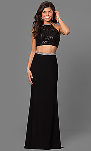 Two-Piece Prom Dress with Lace Top