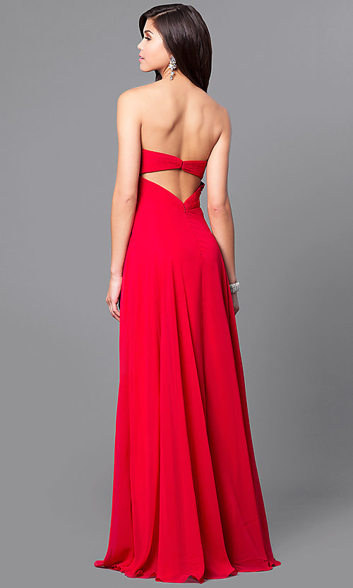 Image of long sweetheart strapless prom dress in chiffon. Style: AL-8022 Back Image