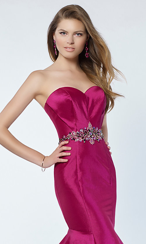 Image of long Alyce strapless mermaid prom dress. Style: AL-A6734 Detail Image 3