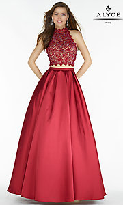A-Line Two Piece Long Alyce Prom Dress