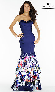 Strapless Navy Print Mermaid Prom Dress