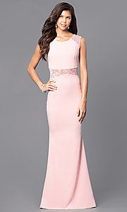 Image of long sleeveless prom dress with sheer lace midriff. Style: MCR-1789 Detail Image 2