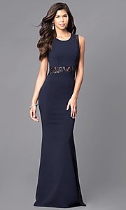 Image of long sleeveless prom dress with sheer lace midriff. Style: MCR-1789 Detail Image 1