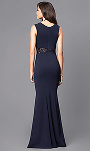 Image of long sleeveless prom dress with sheer lace midriff. Style: MCR-1789 Back Image