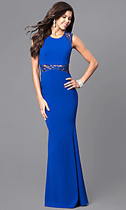 Image of royal blue prom dress with sheer lace accents. Style: MCR-1789-R Front Image