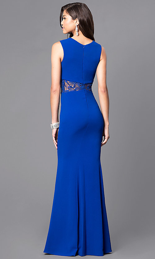 Image of royal blue prom dress with sheer lace accents. Style: MCR-1789-R Back Image