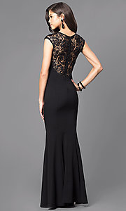 Image of long lace-embellished prom dress with cap sleeves. Style: MCR-1709 Back Image