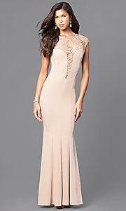 Image of long lace-embellished prom dress with cap sleeves. Style: MCR-1709 Front Image