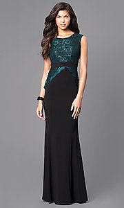 Black Floor-Length Prom Dress with Teal Green Lace Bodice