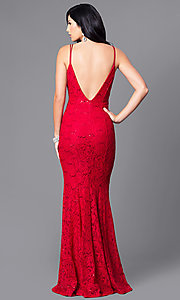 Image of floor-length lace prom dress with sequin accents. Style: MCR-1804 Back Image