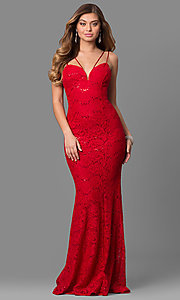 Floor-Length Lace Prom Dress with Sequin Accents