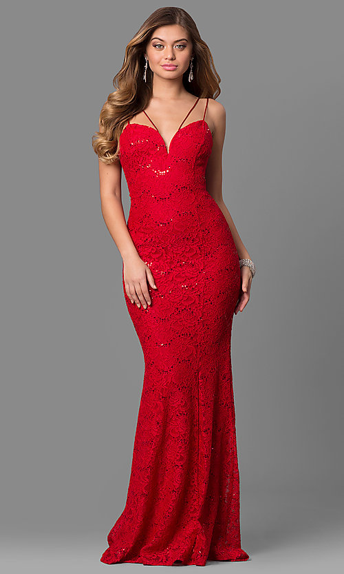 Image of floor-length lace prom dress with sequin accents. Style: MCR-1804 Front Image