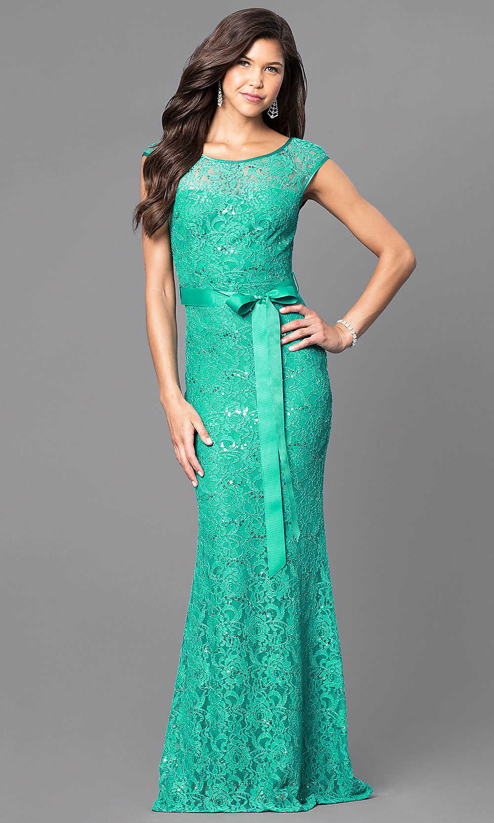 Sequined-Lace Prom Dress with Cap Sleeves -PromGirl