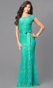 Image of long v-back lace prom dress with sequin accents. Style: MCR-1506 Detail Image 1