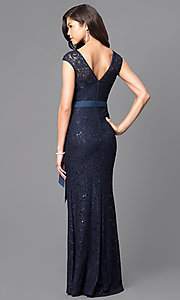 Image of long v-back lace prom dress with sequin accents. Style: MCR-1506 Back Image