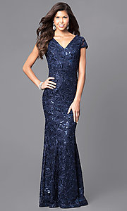 Cap-Sleeve Floor-Length Sequin and Lace V-Neck Prom Dress