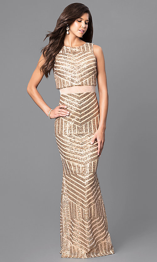 Image of gold sequin long formal evening dress with sheer waist. Style: MCR-1838 Front Image