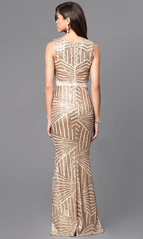 Image of gold sequin long formal evening dress with sheer waist. Style: MCR-1838 Back Image