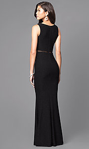 Image of popover floor-length prom dress with sheer midriff. Style: MCR-1338 Back Image