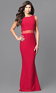 Popover Floor-Length Prom Dress with Sheer Midriff