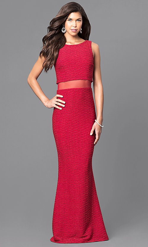 Image of popover floor-length prom dress with sheer midriff. Style: MCR-1338 Detail Image 1