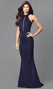 Image of long navy blue prom dress with sheer back  Style: MCR-1851 Front Image