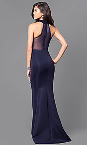 Image of long navy blue prom dress with sheer back  Style: MCR-1851 Back Image