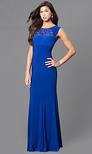 Long Cap-Sleeve Prom Dress with Sequins