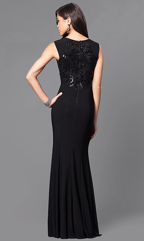 Image of long cap-sleeve prom dress with sequins. Style: MCR-1825 Back Image