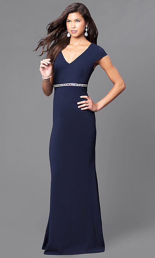 Image of v-neck long prom dress with cap sleeves. Style: MCR-1828 Front Image
