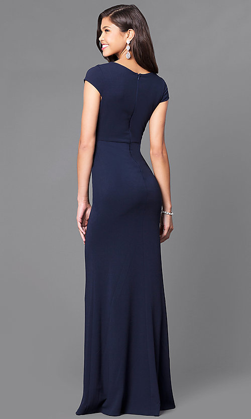 Image of v-neck long prom dress with cap sleeves. Style: MCR-1828 Back Image