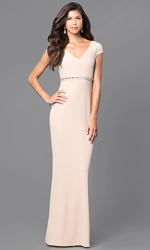 Image of v-neck long prom dress with cap sleeves. Style: MCR-1828 Detail Image 2
