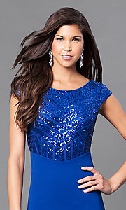 Image of royal blue prom dress with sequins & cap sleeves. Style: MCR-1899 Detail Image 1