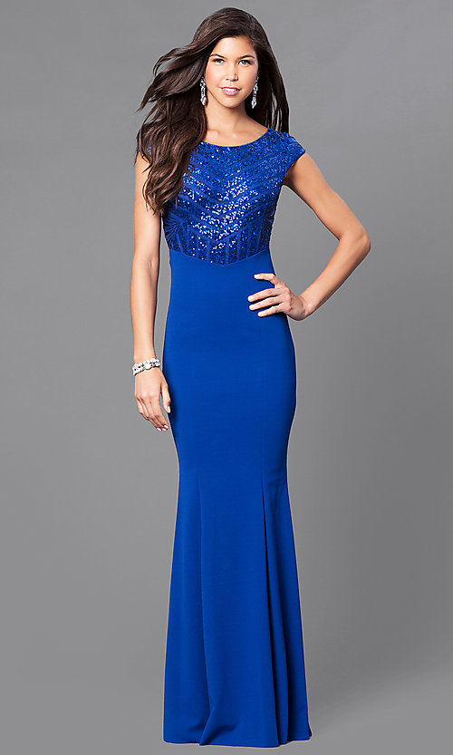 Image of royal blue prom dress with sequins & cap sleeves. Style: MCR-1899 Front Image
