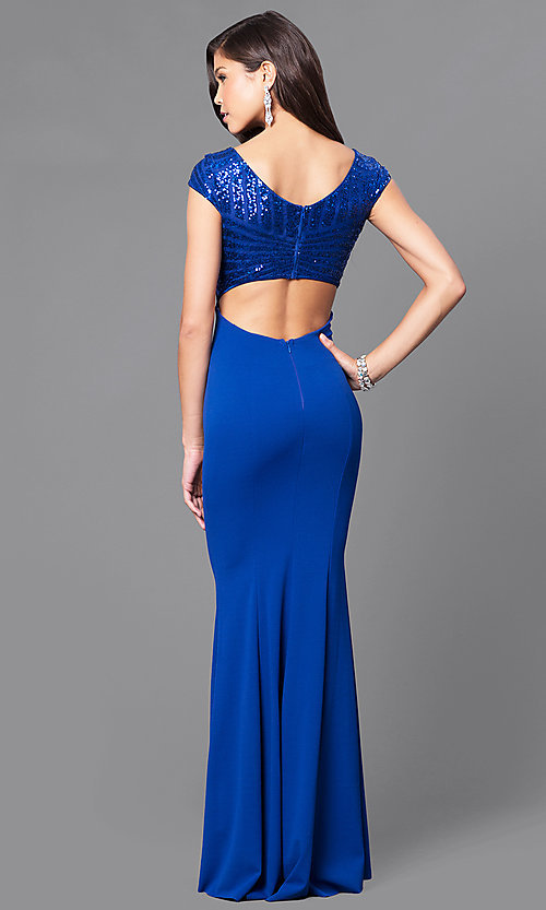 Image of royal blue prom dress with sequins & cap sleeves. Style: MCR-1899 Back Image