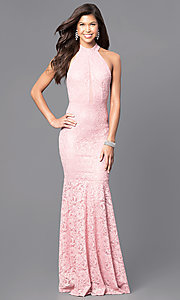 Image of lace mermaid long prom dress in dusty rose pink. Style: MCR-1750 Front Image