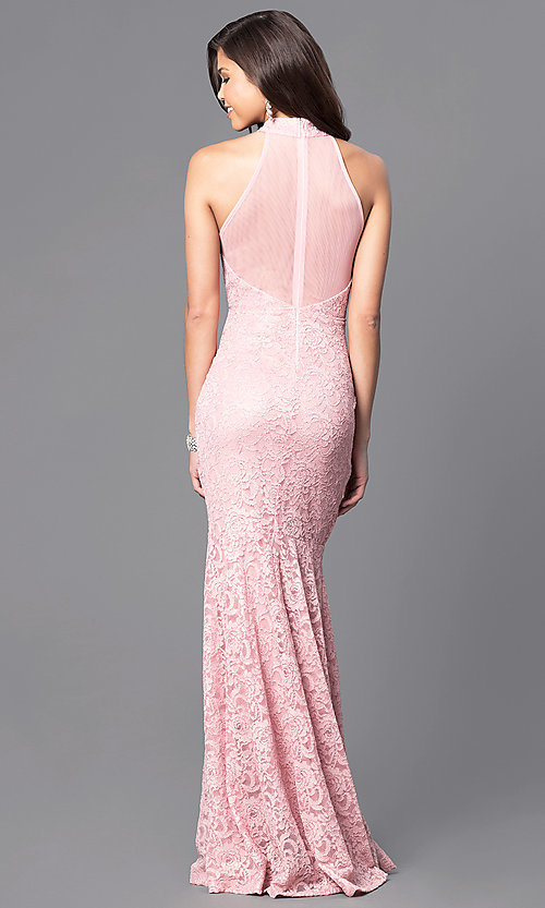 Image of lace mermaid long prom dress in dusty rose pink. Style: MCR-1750 Back Image
