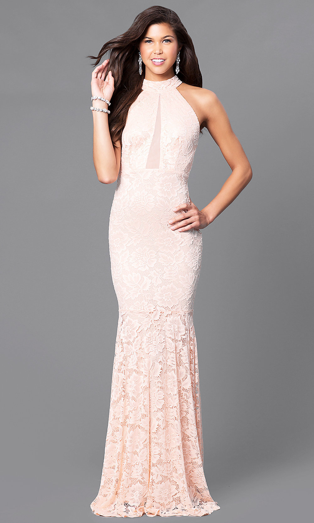 cheap blush pink lace racerback prom dress promgirl