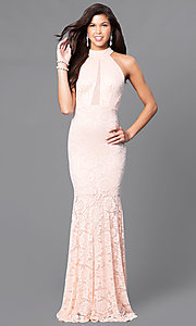 Image of blush pink lace prom dress with sheer racerback. Style: MCR-1859 Front Image