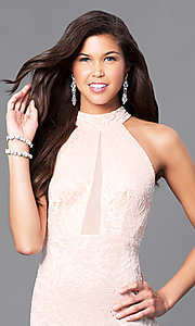 Image of blush pink lace prom dress with sheer racerback. Style: MCR-1859 Detail Image 1