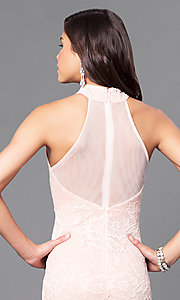 Image of blush pink lace prom dress with sheer racerback. Style: MCR-1859 Detail Image 2