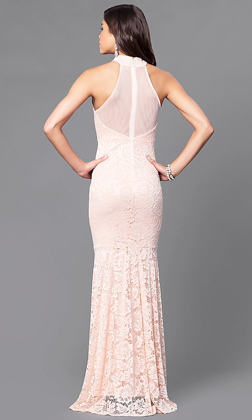Image of blush pink lace prom dress with sheer racerback. Style: MCR-1859 Back Image