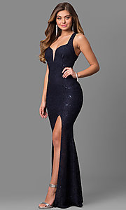Long Navy Blue Lace Prom Dress with Open Back