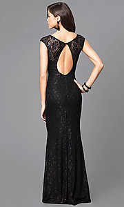Image of sequined lace long prom dress with cap sleeves. Style: MCR-1288 Back Image