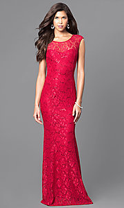 Image of sequined lace long prom dress with cap sleeves. Style: MCR-1288 Front Image