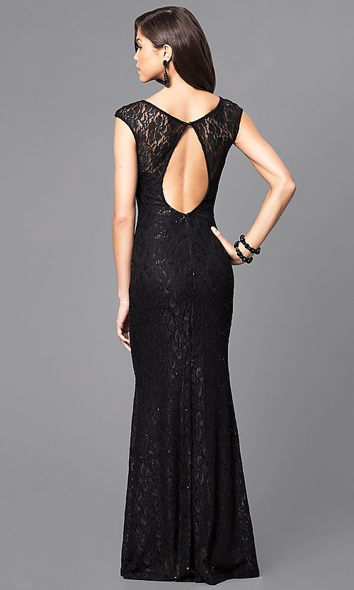 Open-Back Lace Prom Dress with Cap Sleeves-PromGirl