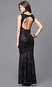 Image of sequin floor-length prom dress with cut-out back. Style: MCR-1738 Back Image