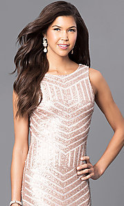 Image of sequin floor-length prom dress with cut-out back. Style: MCR-1738 Detail Image 1
